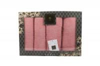 4er-SET - Premium HANDTÜCHER inkl.Geschenkset – 2 x Duschtuch + 2 x Handtuch - 100% Baumwolle Rose