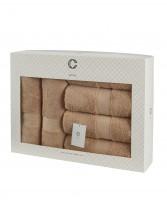 Cavar HOME - Handtuchset – 6er Set – 4 x Handtücher + 2 x Duschtücher /100% Baumwolle Beige