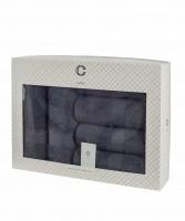 Cavar HOME - Handtuchset – 6er Set – 4 x Handtücher + 2 x Duschtücher /100% Baumwolle Anthrazit