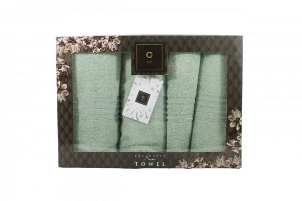 4er-SET - Premium HANDTÜCHER inkl.Geschenkset – 2 x Duschtuch + 2 x Handtuch - 100% Baumwolle