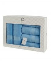 Cavar HOME - Handtuchset – 6er Set – 4 x Handtücher + 2 x Duschtücher /100% Baumwolle Hellblau