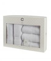 Cavar HOME - Handtuchset – 6er Set – 4 x Handtücher + 2 x Duschtücher /100% Baumwolle Weiß