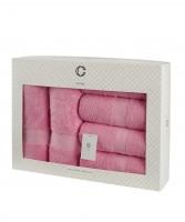 Cavar HOME - Handtuchset – 6er Set – 4 x Handtücher + 2 x Duschtücher /100% Baumwolle Pink